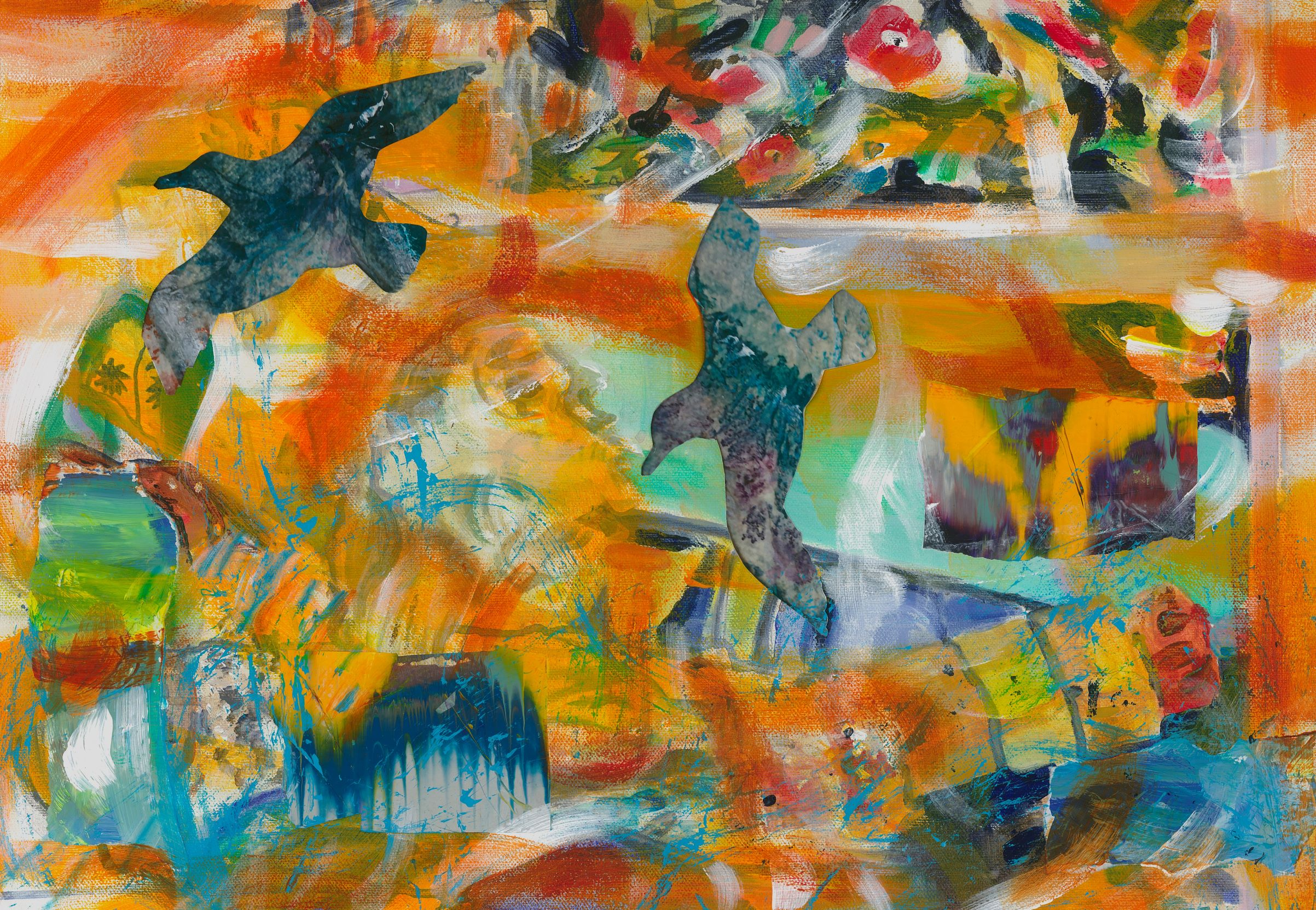 Gulls diving abstract small size-193fb845